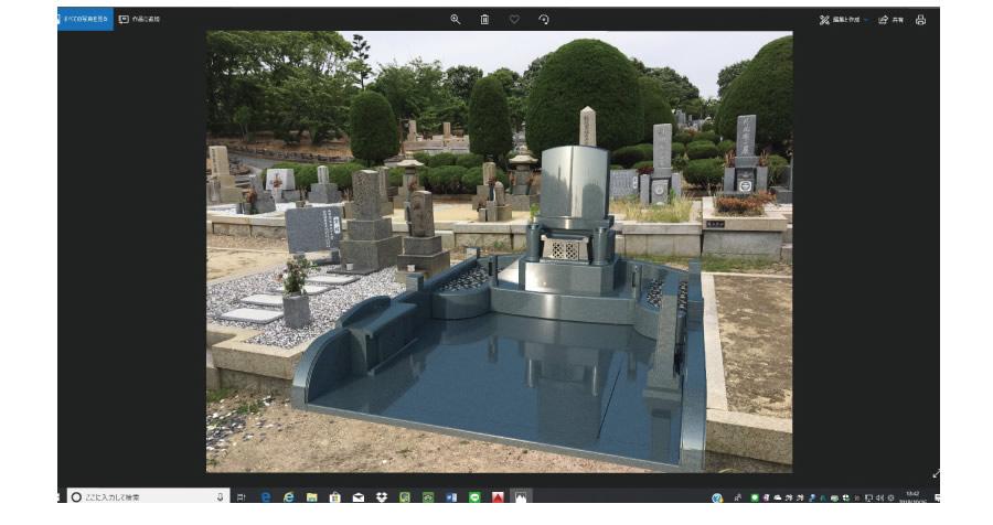 実際の墓地の背景にデザイン画像を当てはめたイメージ画像の確認