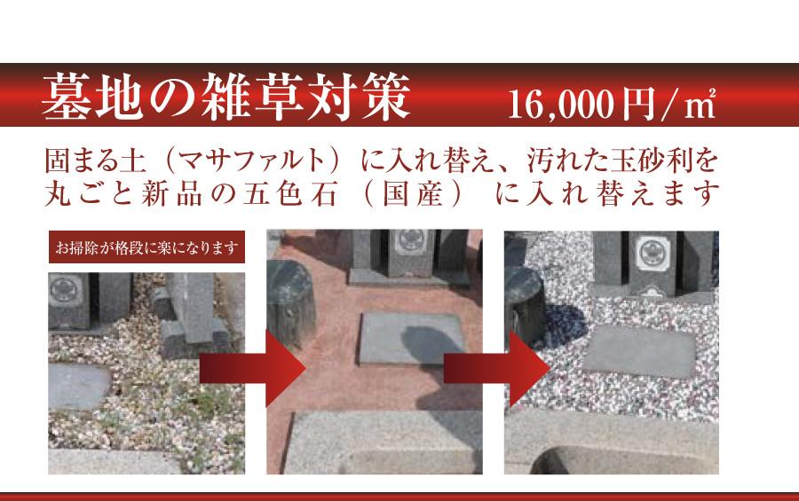 墓地の雑草対策 土の入れ替えなど