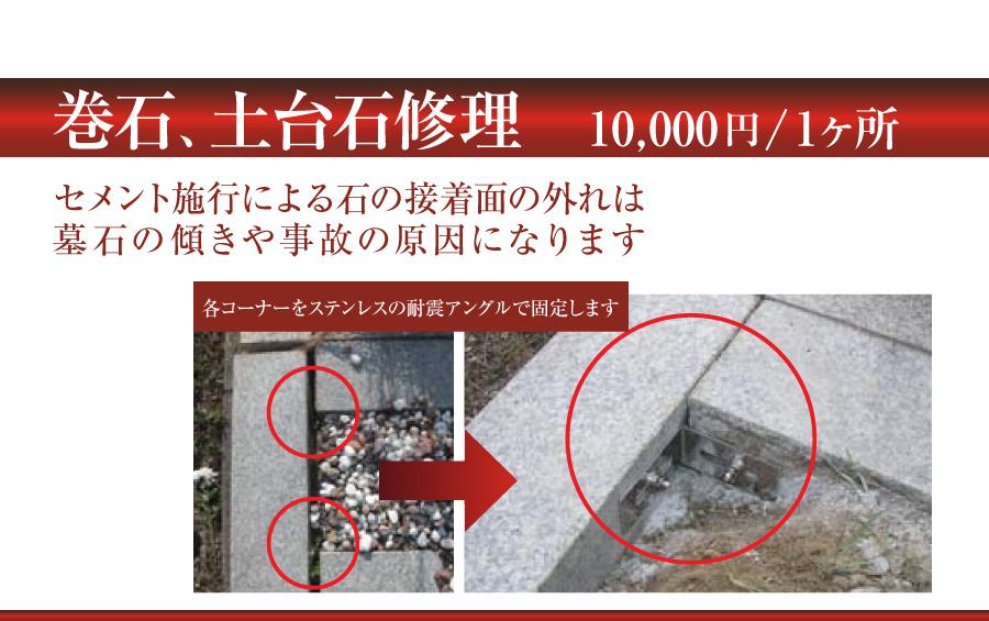巻石、土台石修理 墓石の傾き防止など
